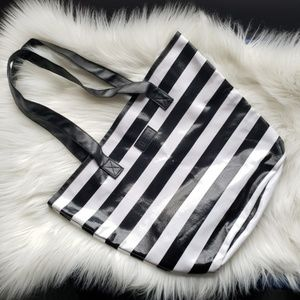 NWOT Sephora Black and White Striped Tote Bag